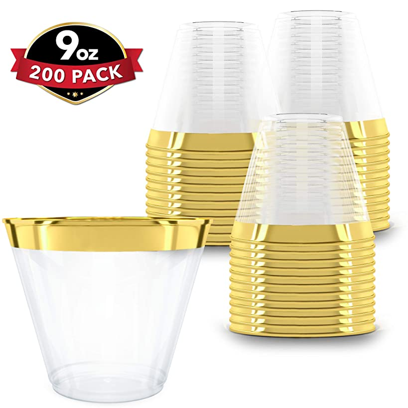 Clear Plastic Cups With Gold Rim | 9 oz. - 200 Pack | Hard Disposable Cups | Plastic Wine Cups | Plastic Cocktail Glasses | Plastic Drinking Cups | Bulk Party Cups | Wedding Tumblers
