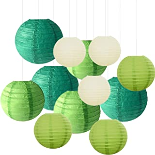 12PCS Paper Lanterns with Assorted Colors and Sizes Paper Lanterns..