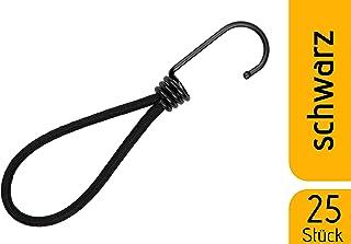 fuxton 25 Tendeur Elastique Caoutchouc Professionnel avec Crochet (Noir 130 mm) pour..