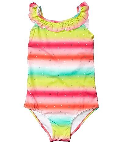 Hatley Kids Shimmer Rainbow Ruffle Sleeve Swimsuit (Toddler/Little Kids/Big Kids) (Pink) Girl