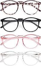 IBOANN 4 Pack Blue Light Blocking Glasses Women Men, Anti Eyestrain Computer Glasses, Retro Round Frames with Clear Lens