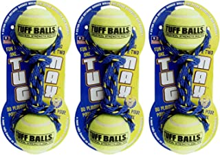 PetSport 3 Pack of Tug Max Dog Toys, 9 Inch, Rope and Durable Tennis Balls, Assorted Colors (3 Pack)