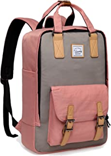 School Backpack for Men and Women,VASCHY Unisex Vintage Water Resistant Casual Daypack Rucksack Bookbag for College Fits 15inch Laptop Backpack Pink
