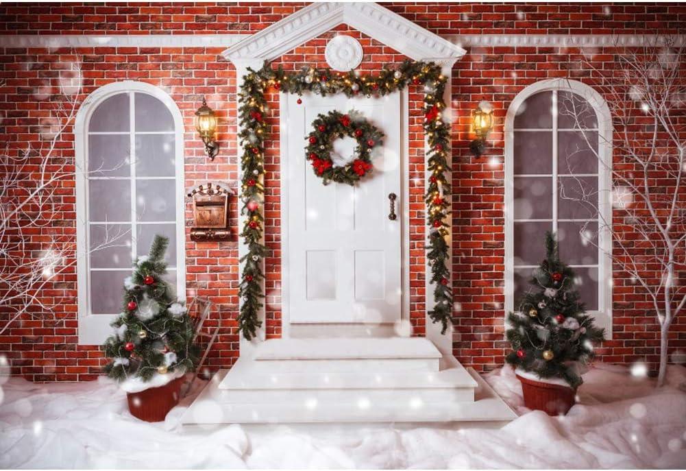 OERJU 5x3ft Merry Christmas Photo Backdrop Red Brick Wall House Front Door Porch Xmas Trees Wreath Garland Winter Snowfall White World Christmas Photography Background Bokeh Halo Photo Studio Props