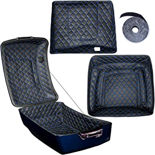 Us Stock King Tour Pack Inserts Touring Pak Liner Fit for Harley/Advanblack King Tour Pak(Blue Thread Stitching, Synthetic Leather, 1 Set)
