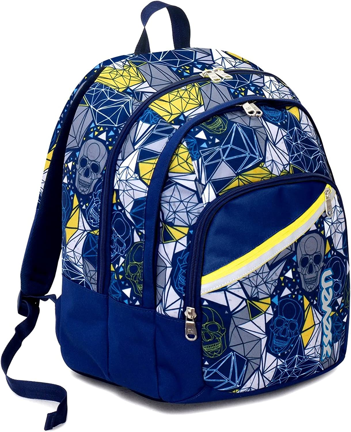 Backpack School Fit Seven , LUCKY , bluee Yellow , 28 Lt , Double Compartment , Primary Secondary School