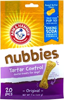 Arm & Hammer Nubbies Dental Treats for Dogs | Dental Chews Fight Bad Breath, Plaque & Tartar Without Brushing | Peanut But...