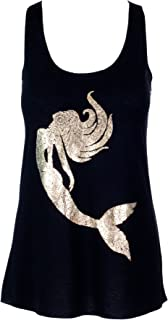 Sidecca Mermaid Floral Gold Foil Silhouette Tank Top Juniors and Plus Sizes Juniors and Plus Size