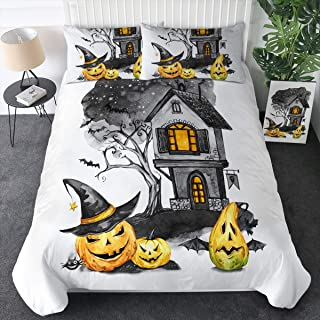 Sleepwish Halloween Pumpkin Bedding Duvet Cover Set 3 Pieces Haunted House Jack O' Lantern Ghost 3D Design Holiday Themd Comforter Cover (King)