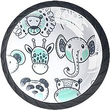 Lade knoppen ronde kast handgrepen pull voor thuiskantoor keuken dressoir kledingkast decoreren,dierlijke vector hand