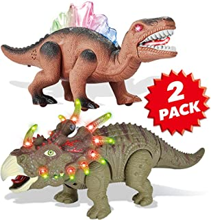 2 Pack Electronic Walking Dinosaur Toy with LED Light Up Eyes, Roaring Sound, Realistic Triceratops and Dimetrodon, Dinosaur Party Favors, Dinosaur Toy for Kids Boys Girls Ages 3 4 5 6 7 Year Old