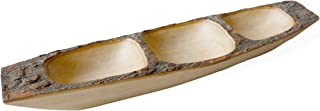 roro 3-compartment Wood Boat Tray with Bark Edges, Hand-carved Live Edge 18 Inch