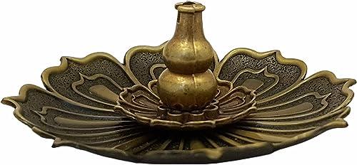 Divya Mantra Flower Incense Stick Holder Agarbati Stand Agarbatti Holder Metal for Home Decoration Agarbathi Holcder Ash Collector Agarabathila Agarbhatti Pooja Room Decorative Item Bronze