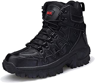 Aegilmc Men Combat Tactical Boots, Men Military Desert Tactical Boots Sports Outdoor Hiking Boots for Men Delta Commando Combat Boots Anti-Collision Toe,Black,40EU