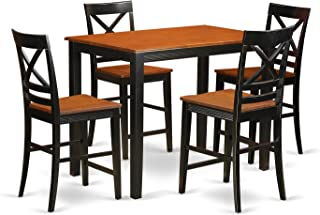 East West Furniture 5 Piece Counter Height Pub Dining Table and 4 Chairs Set