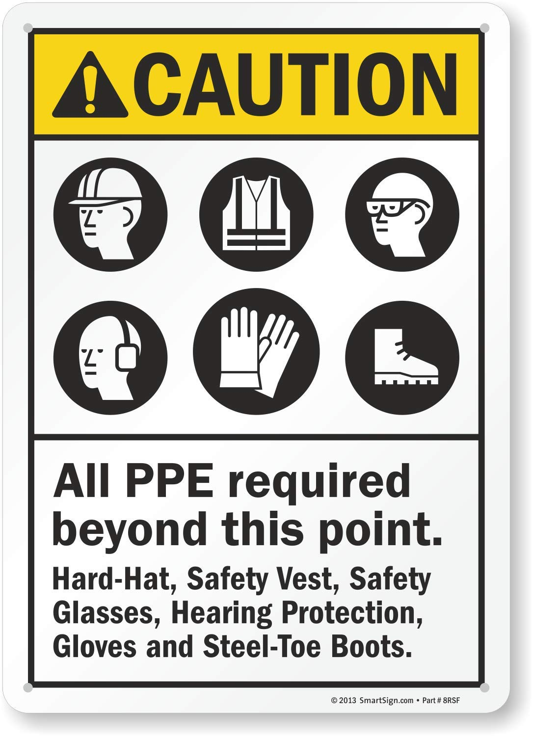 """OSHA Safety SIGN 10/"""" x 14/"""" CAUTION Foot Protection Required in this area"""