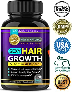 Sexy Hair Growth. Advanced Anti Hair Loss Vitamins. New & Powerful Formula to Promote Longer, Stronger Hair. Non GMO.120 Capsules. Made in USA (1)