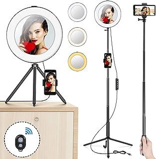 """Anillo de Luz 8"""" MACTREM Aro de Luz LED Regulable para Selfie Fotografía Ring Light con Trípode Soporte para Movíl Palo Selfie y Espejo para Youtube Maquillaje Teléfono Vídeo Foto - Negro"""
