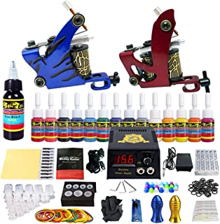 Solong Tattoo Complete Tattoo Kit 2 Pro Machine Guns 14 Inks Power Supply Foot Pedal Needles Grips Tips TK210