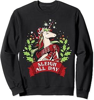 Traîneau toute la journée Noël mignon Santa Licorne Sweatshirt