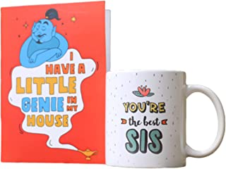 Oye Happy - Best Sis in The World Rakhi Combo - Contains Funny Quote Greeting Card & Coffee Mug - Best Gift for Sister on ...