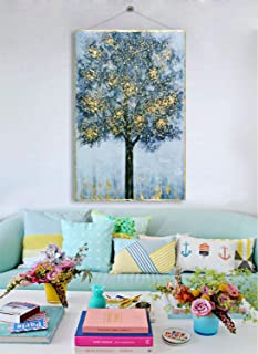 Fox Art Oil Paintings Original Forest Canvas Art Wall Decor Tree with Gold Foil Wood Scroll Paintings for Living Room and Bedroom Stainless Steel String Installed Ready to Hang 32x48Inch