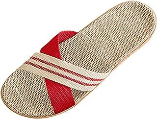 Jiyaru Zapatillas de Estar por Casa de Lino Slippers para Verano Zapatillas Interior Sandalias Unisex Pantuflas Casa para ...