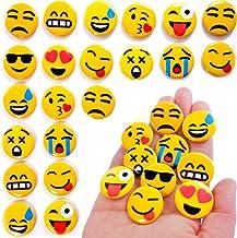 Buttons mit Sicherheitsnadel hinten Oblique Unique/® 30 St/ück Gelbe Smiley Face Anstecker /Ø 4,2cm kr/äftige Farben f/ür Gute Laune