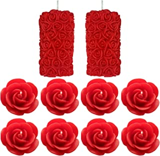 Shraddha Creation Rose Pillar and Floating Rose Decorative Smokeless Designer Scented Candle, Red Color with Rose Fragrance (Set of 10 Pcs.)