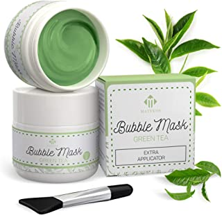Green Tea Carbonated Bubble Mask with Face Applicator by Matykos - Deep Foaming Pore Cleansing and Refreshing - Foam Face ...