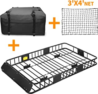 XCAR Roof Rack Basket Rooftop Cargo Carrier + 3' x 4' Cargo Net + Cargo Carrier Bag 15 Cubic ft