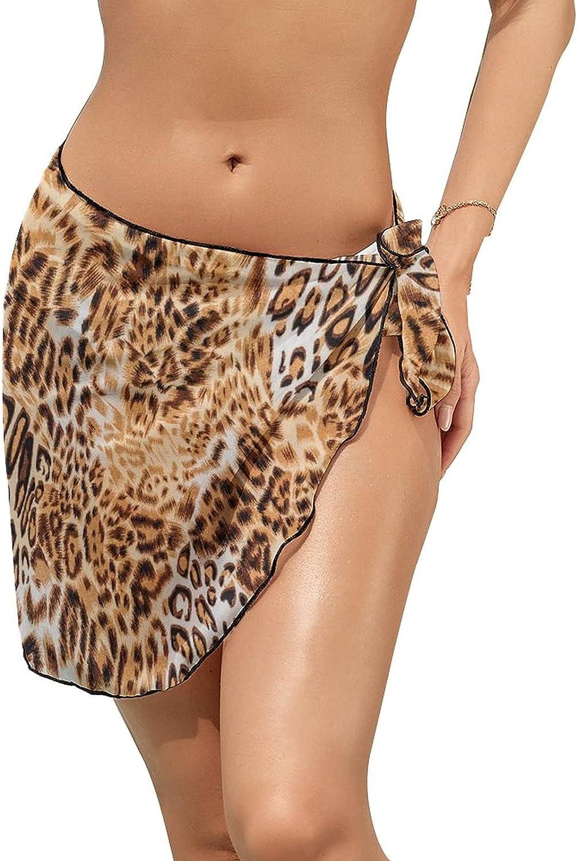 Women's Bikini Swimsuit Cover Up Animal Leopard Skin Summer Beach Wrap Skirt Pareo Sarong