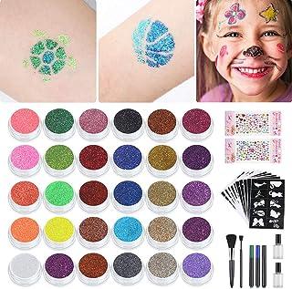Lictin Kit de Tatuajes Temporales Niñas con Brillantina-Tatuajes Purpurina con 30 Colores,10 Plantillas de Tatuaje Temporales.3 Bolígrafos para Tatuajes,Impermeable y No Tóxico para el cuepo