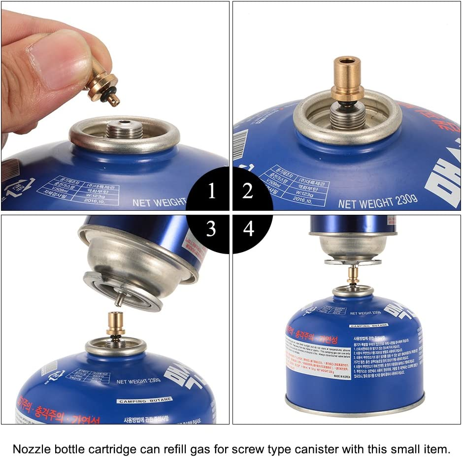Irfora Cartridge Gas Refill Adapter Nozzle Bottle Type Butane Gas Cartridge//Canister refill Gas for Screw Type Lindal Valve Canister