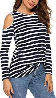 SimpleFun Womens Cold Shoulder Blouse Long Sleeve Twist Knot Tunic Tops Casual T Shirt