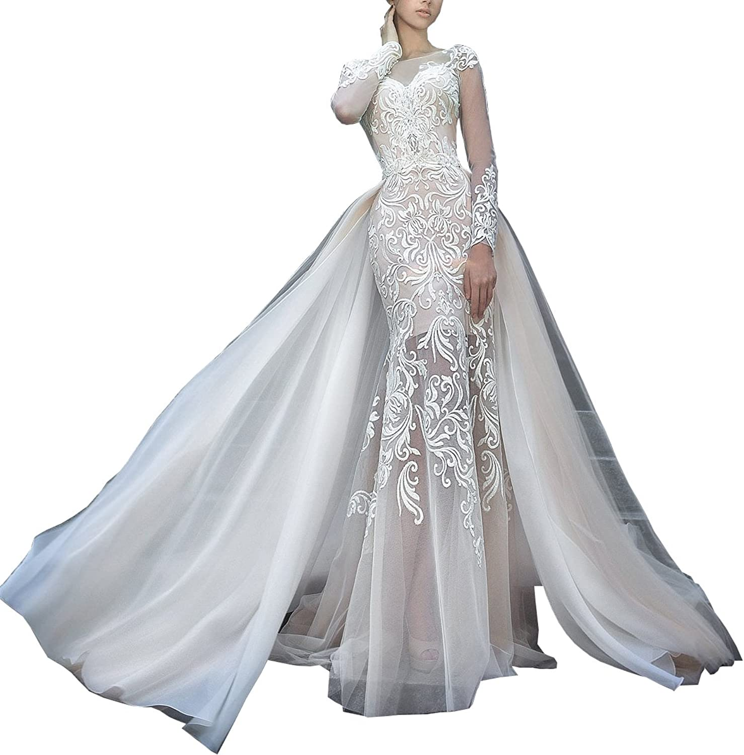 Changjie Women's Long Sleeves Lace Wedding Bridal Gown with Detachable OverSkirt