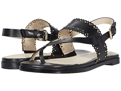 Cole Haan Anica Scallop Thong Sandal (Black Leather/Gold Studs) Women