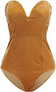 029049dfeb47 Joeoy Women s Vintage Bandeau Sweetheart Back Lace Up Velvet Bodysuit  Jumpsuit Leotard
