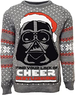 Official Star Wars Darth Vader Christmas Jumper/Ugly Sweater UK L/US M Grey