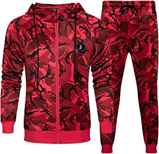 Men's Tracksuit Full Zip Running Jogging Athletic Sports Set Casual Sweat Suit