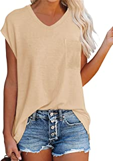 WMZCYXY Camisetas de verano sin mangas con cuello en V para mujer, informal, holgadas, con bolsillo