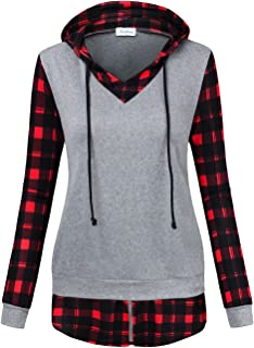 Women's Hooded Sweatshirts Long Sleeve 2 in 1 Checked Pullover Tops with Pockets