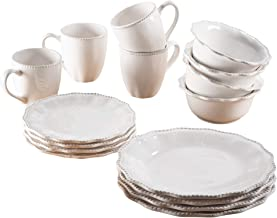 "American Atelier 7473-16-RB Bianca Bead Scallop Casual Round Dinnerware Set – 16-Piece Ceramic Party-4 Dinner & 4 Salad Plates, 4 Bowls, 4 Mugs – Gift for Special Occasion or Birthday, 10.75"", White"