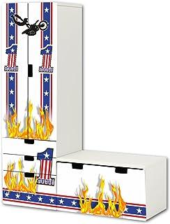 Stuntman pegatinas | SL19 | adecuado para la combinación de guarda STUVA de IKEA (forma de L) | Compuesto por armario, cómoda con 3 cajones y arcón de banco (mueble no incluido) STIKKIPIX