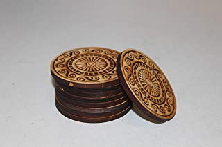 Azul Board Game Custom Factory Display Wood Discs, 9 Piece Set