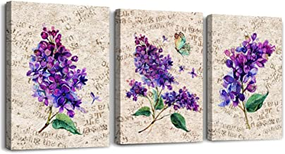 Vintage Poster Background Lavender Purple Flowers Canvas Prints Wall Art for Living Room Bedroom Decoration Wall Painting, 16x12 inch/ 3 Panels Bathroom Wall Decor Home Decoration Kitchen Artwork