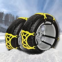 VaygWay Car Tire Snow Chains-Anti Slip Emergency All Season-Anti Snow Cables Car SUV- Universal Mud Security Tire Chains-6 Piece Vehicle