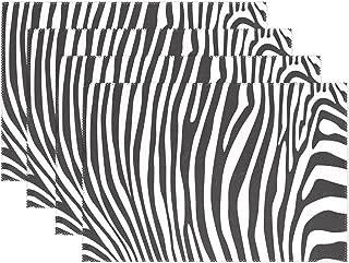 WOZO Black White Zebra Stripe Placemat Table Mat, Zebra Print 12
