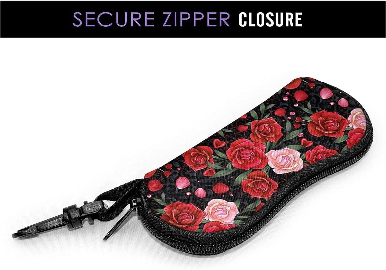KAETZRU Glasses Case Bright Rose Red Pink Leaf Floral Portable Eyeglass Case Ultra Light Neoprene Zipper Sunglasses Bag with Belt Clip