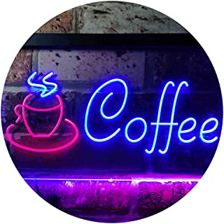 Coffee Shop Hot Cup Illuminated Dual Color LED Neon Sign Red & Blue 600 x 400mm st6s64-i0433-rb